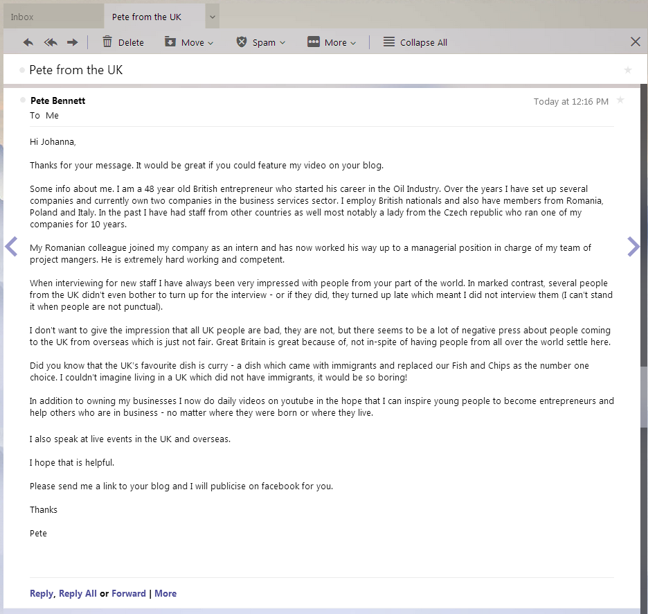 screenshot of an email from Pete Bennett to Ioana Radu