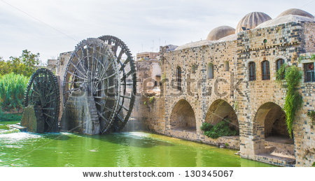Noria of Hama, water wheel along the Orontes River in the city of Hama