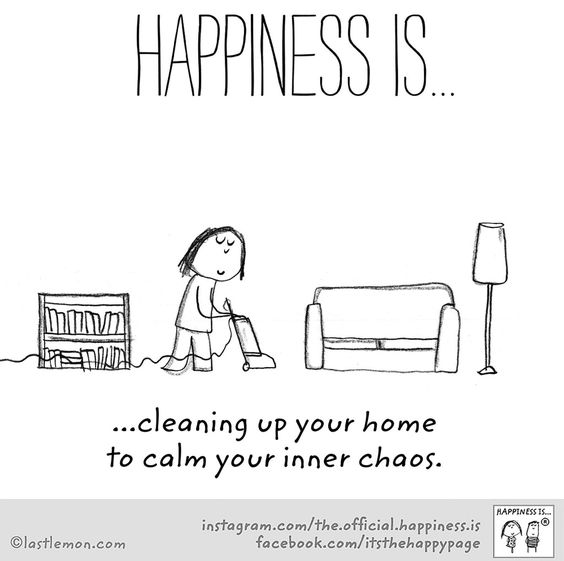 happiness is cleaning up your home