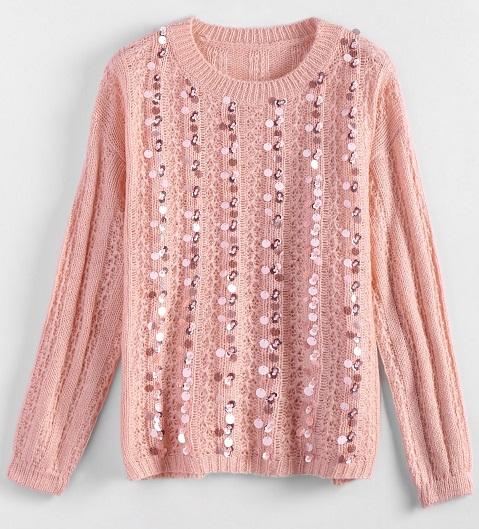 pulover roz cu paiete