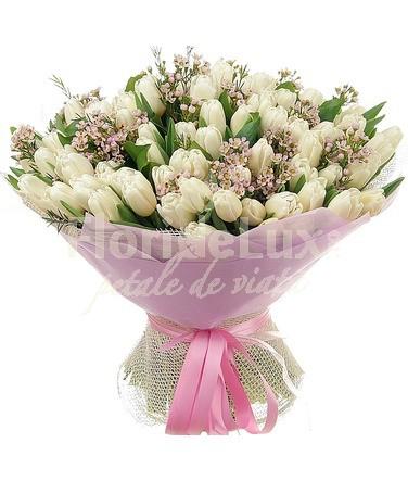 buchet flori 101 lalele albe