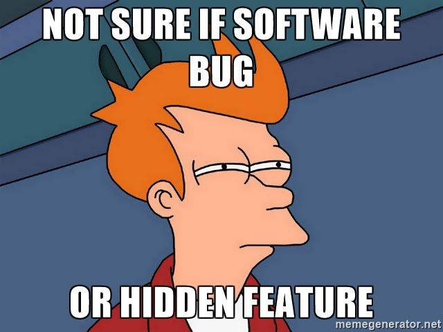 software bug or hidden feature