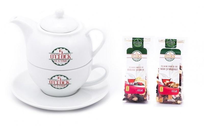 set ceainic si ceasca portelan + doua ceaiuri ArtaCeaiului