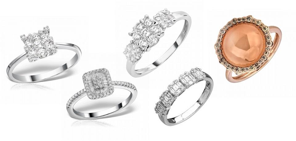 inele aur alb cu diamante