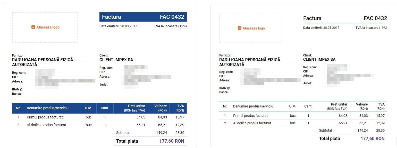 model factura program de facturare Oblio