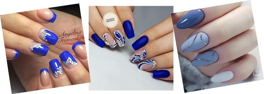 manichiura cu gel albastru