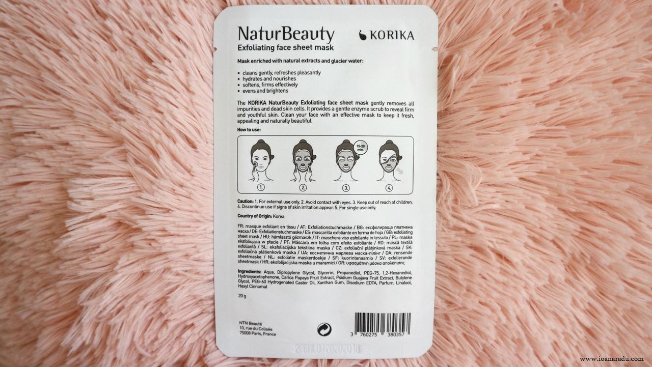 ambalaj masca textilă exfoliantă KORIKA NaturBeauty