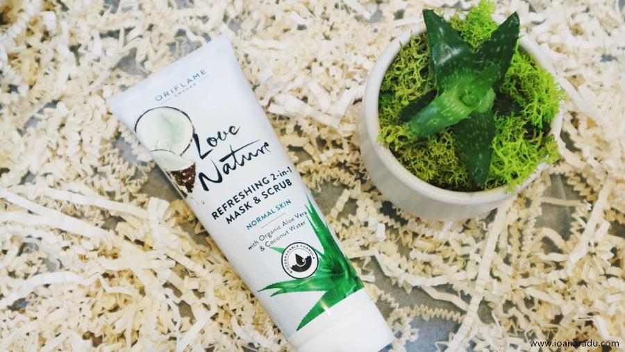 Mască & Exfoliant 2-în-1 cu aloe vera și apă de nucă de cocos organice Love Nature Oriflame