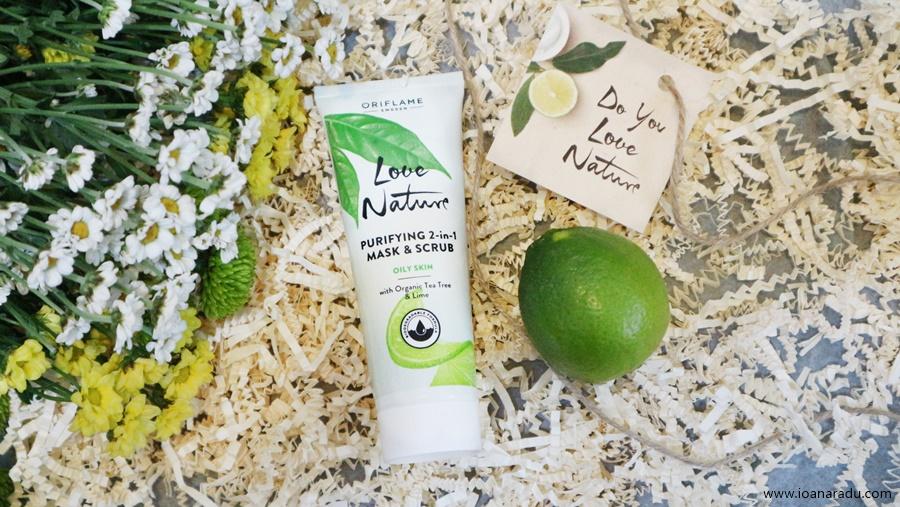Mască & Exfoliant 2-în-1 cu ulei esențial din arbore de ceai și extract din lămâie verde Love Nature Oriflame