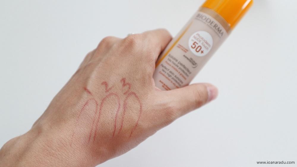 Bioderma Photoderm Nude Touch SPF 50+ protectie solara pentru ten swatch natural light golden colour
