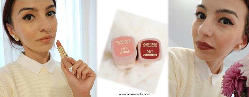 Două rujuri L'Oréal Paris Color Riche Free the nudes - NO Cliche NO Judgment swatch