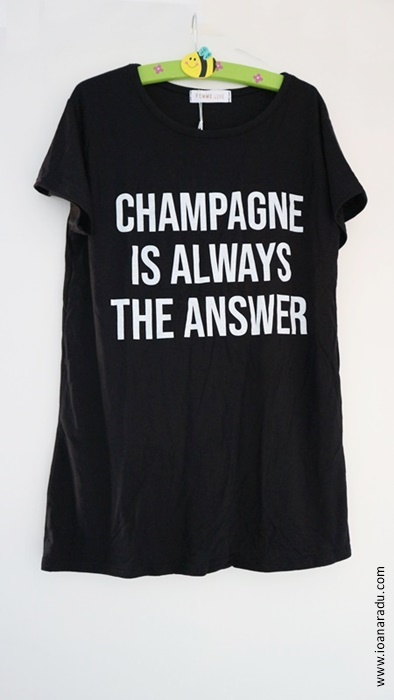 Black 'Champagne Is Always The Answer' Slogan T-Shirt - Mabel from FemmeLuxeFinery