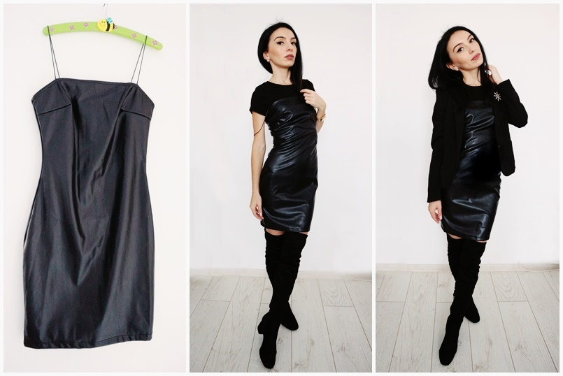 Black Faux Leather Bodycon Mini Dress review Femme Luxe Finery