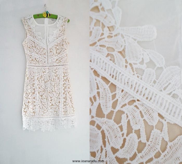 White Lace Crochet Sleeveless Bodycon Mini Dress - Tiffany from FemmeLuxeFinery