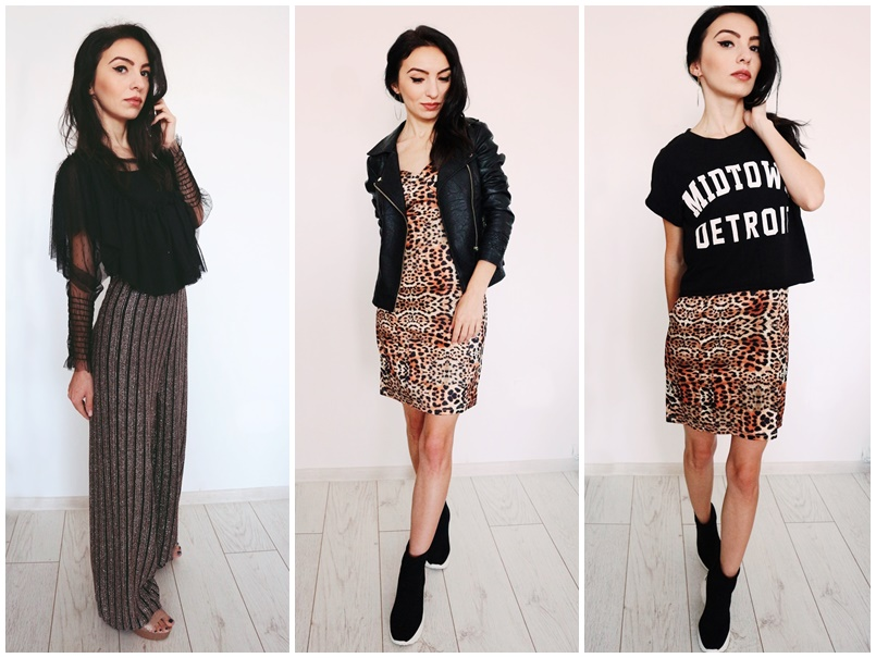 review Black & Pink Sparkle Stripe Wide Leg Trousers and Brown Leopard Print Satin Bodycon Mini Dress from Femme Luxe