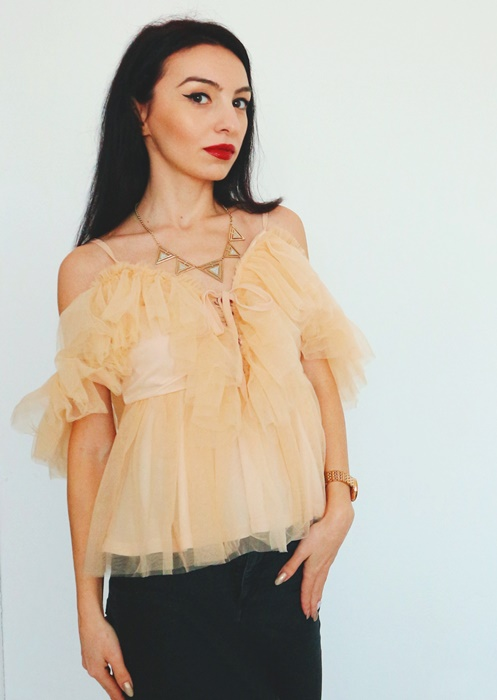 Nude Layered Mesh Ruffle Strappy Top from Femme Luxe Finery