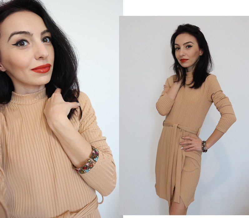 Tan Belted High Neck Ribbed Bodycon Mini Dress