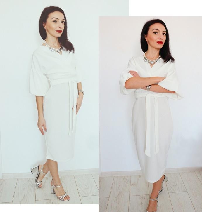 White Belted Bodycon Midi Dress