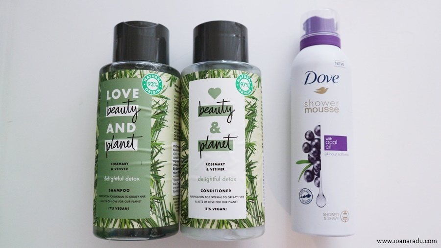 sampon si balsam Love Beauty And Planet spuma de dus Dove cu acai