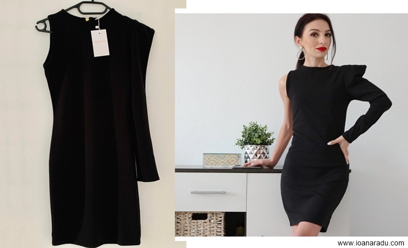 Black One Shoulder Padded Bodycon Mini Dress from Femme Luxe Finery