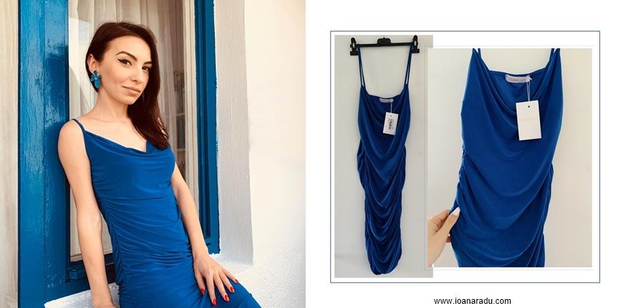 Royal Blue Ruched Cowl Neck Bodycon Mini Dress
