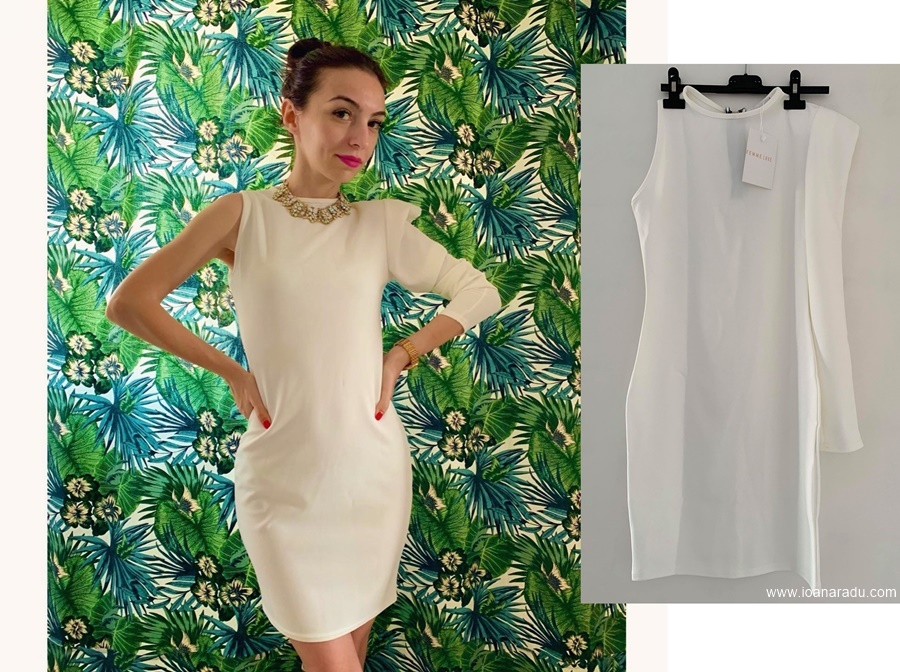 White One Shoulder Padded Bodycon Mini Dress