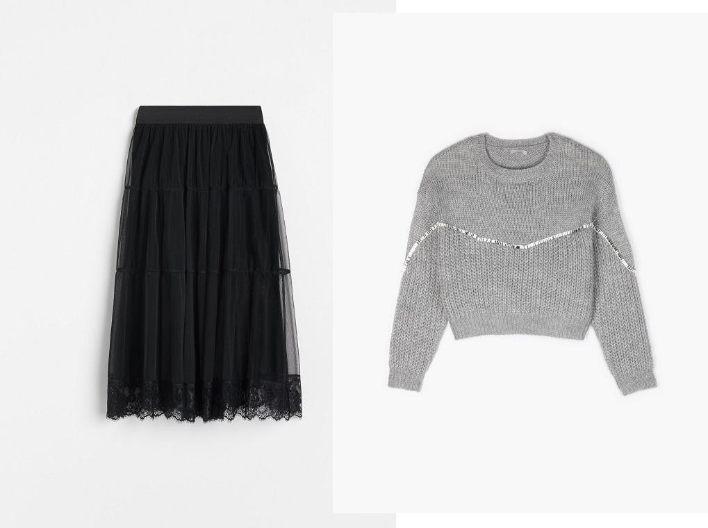 outfit lejer fusta midi si pulover revelion 2020 2021